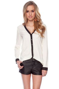 Opposites Attract Button Down Shirt in Ivory $30 at www.tobi.com