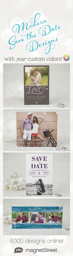 New Save the Date designs to choose from! Plus you can customize style, paper, and color to your style.