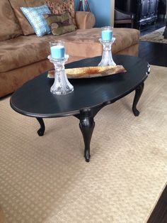 Queen Anne Style Coffee Table...refinished in black with light distressing.  Purchased online...SOLD!!!