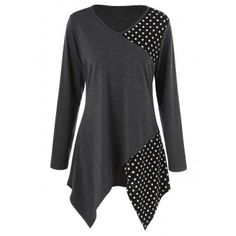 SHARE & Get it FREE | Plus Size Polka Dot Trim Asymmetrical T-ShirtFor Fashion Lovers only:80,000+ Items·FREE SHIPPING Join Dresslily: Get YOUR $50 NOW!