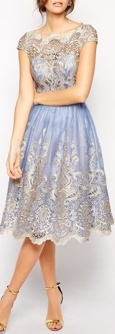 Latest 2015 Prom dresses collection - Chi Chi London Premium Metallic Lace Prom Dress with Bardot Neck.