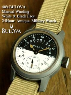 WWⅡ 40's BULOVA Manual Winding Black&White Two-Tone Face 24Hour Antique Military Watch
