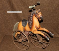 old wooden horses   Vintage Wood Horse Doll Tricycle Trike Horse Hair Tail Leather Saddle ...