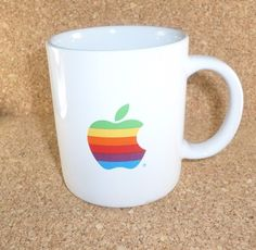 Apple Computers Rainbow Logo Vintage Early 1980's Promotional Coffee Mug White