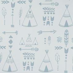 Teepees wallpaper - Indigo/White