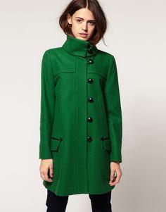 Green Fold over Collar Coat