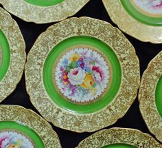 """8 Bohemia Czechoslovakia Dinner Cabinet Plates 10 3/4"""" Floral Flower Roses Bouquet Green w/ Gold Encrusted Neo-Classical Shoulder Fine China by CoyoteMoonAntiques on Etsy https://www.etsy.com/listing/265164593/8-bohemia-czechoslovakia-dinner-cabinet"""