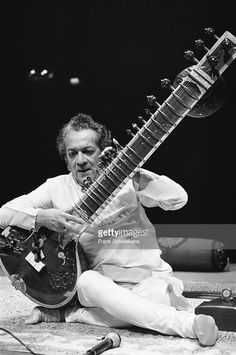 Indian musician Ravi Shankar (1920-2012) performs with sitar at Vredenburg in Utrecht, Netherlands on 19th June 1988.