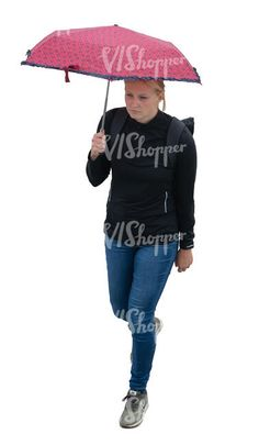 cut out woman with an umbrella walking seen from above