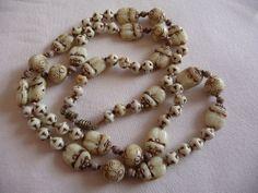 Vintage Deco Egyptian Revival Neiger Scarab White Uranium Glass Bead Necklace