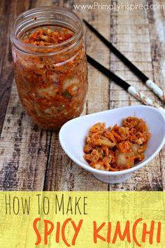 To Make Kimchi (My Mom's Famous Spicy Kimchi Recipe!) How To Make Kimchi (My Mom's Famous Spicy Kimchi Recipe!) from Primally InspiredHow To Make Kimchi (My Mom's Famous Spicy Kimchi Recipe!) from Primally Inspired Canning Recipes, Asian Recipes, Real Food Recipes, Vegetarian Recipes, Healthy Recipes, Easy Recipes, Spicy Kimchi Recipe, Korean Food Kimchi, Sauerkraut