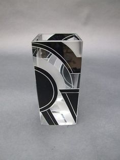 Vase by Palda  Geometric glass vase by Karel Palda with patterning in black enamel. 6.5 inches high. Condition is excellent.   Ref: G574 . . . £245