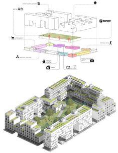 Проект «Дом средней этажности» в стиле бюро Steven Holl Architects (конкурс ISOVER). Город Москва. Автор: Ясмина Аслаханова, студент 5 группы 3 курса. Генеральный план и схема