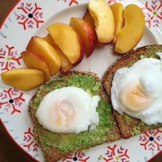 Question: how many times can I eat this meal and not get sick of it? Answer: the limit does not exist 😎😇 Two slices of ezekiel bread topped with mashed avocado + poached eggs + a super juicy peach to kick off the day!