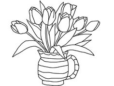 Tulips flowers coloring pages and Tulips Crafts : spring is here ...