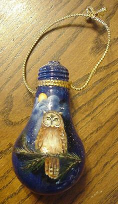 Recycle old light bulbs may be used for anything. The lantern you see I wouldn't ever consider painting it. Recycled Light Bulbs, Painted Light Bulbs, Light Bulb Art, Light Bulb Crafts, Beaded Christmas Ornaments, Lightbulb Ornaments, Old Lights, Owl Ornament, Theme Noel