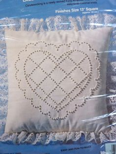 Candlewick Heart Pillow Kit by BonniesVintageAttic on Etsy, $5.00