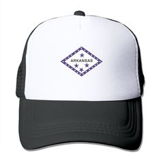 """Adult US Arkansas Flag The Adjustable Snapback Trucker Hat. 100% Nylon Mesh Back Keeps You Cool. 100% Polyester Foam Front. Hand Washing Only. Adjustable From 17"""" To 24"""". Customized Pattern Design,Perfect As A Gift,High Quality And Environmentally Friendly Printed."""