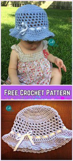 Crochet Little Girls Sun Hat Free Patterns - Crochet Toddler Sun Hat Free Pattern