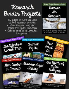Research Binder Projects!  7 topics with Common Core aligned research materials.  This is a great semester long project that requires students to think critically and become familiar with the research process! 170 pages! $