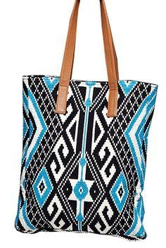 Eco Friendly Tulum Southwestern Aztec Tapestry Vegan Tote Bag (Navy Blue, Vegan Leather Straps)): Handbags: Amazon.com