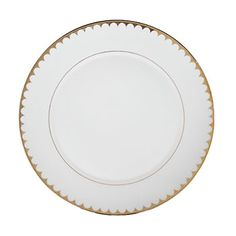 "Gold Scallop Rim Dinner Plate 10.625"""
