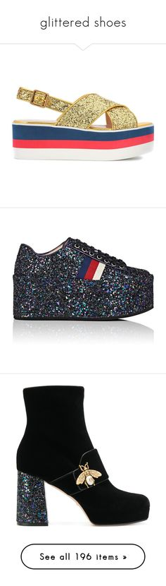 """""""glittered shoes"""" by karla-jhoana ❤ liked on Polyvore featuring shoes, sandals, gucci shoes, glitter shoes, platform shoes, gucci, glitter sandals, sneakers, leather platform sneakers and glitter platform sneakers"""