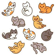 Cute Little Drawings, Cute Kawaii Drawings, Cute Animal Drawings, Easy Drawings, Simple Cat Drawing, Kitty Drawing, Puppy Drawing, Maus Illustration, Kawaii Illustration