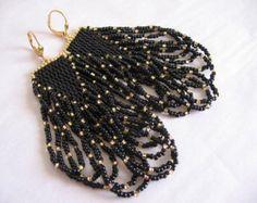 Seed Bead Earrings Violet/Minty Aqua/Cream/Black by pattimacs