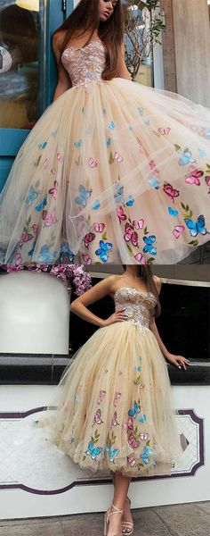 champagne tulle tea length prom dress, tulle homecoming dress