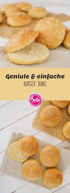 In diesem Rezept stelle ich euch ganz einfache, aber total geniale Burger Buns /. - In this recipe, I introduce you to very simple but totally ingenious burger buns, with which you ca - Bun's Burger, Burger Party, Beste Burger, Burger Recipes, Vegetarian Recipes, Muy Simple, Carne Picada, Hamburger Buns, Healthy Eating Tips