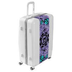 #pink - #Blue Diamonds Monogram with Blue Flowers Luggage