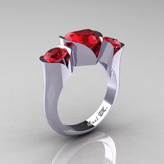 Nature Classic 10K White Gold 2.0 Ct Heart Rubies by artmasters, $599.00