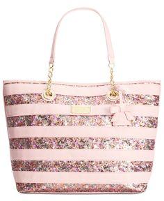 Betsey Johnson Macy's Exclusive Stripe Sequin Tote - Handbags & Accessories - Macy's