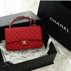 Red dream ❤ Chanel Red caviar classic flap in medium size with light gold hw . Please, don't ask for price, I am not a seller 🙏 . Chanel Handbags, Fashion Handbags, Purses And Handbags, Fashion Bags, Replica Handbags, Cheap Handbags, Handbags Online, Popular Handbags, Gucci Purses