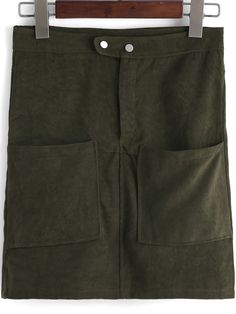Army Green Casual Pockets Bodycon Skirt