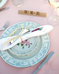 Mismatched china plates create an eclectic aesthetic