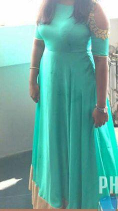 Cold shoulder embroidered anarkali in sea green colour Ethnic Clothes, Ethnic Outfits, Sea Green Color, Patterned Skirt, Anarkali Gown, Dress Skirt, Sarees, Cold Shoulder, Short Sleeve Dresses