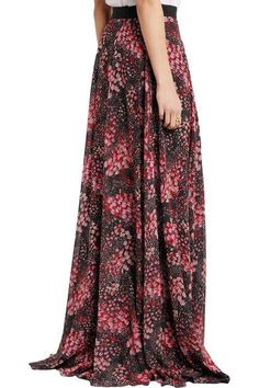 Giambattista Valli - Printed Silk-georgette Maxi Skirt - Black - IT