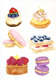French Pastries - ORIGINAL Painting (Still Life, Kitchen Wall Art, Food Illustration Vintage Style)