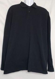 36d8ae1e8 St. John s Bay Men s 3XLT Tall Black Sueded Jersey Polo Long Sleeve Shirt  Casual  StJohnsBay