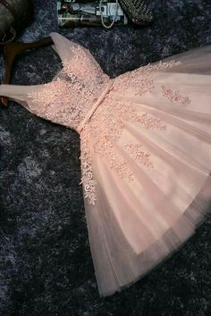On Sale Magnificent Pink Party Dresses Skin Pink Lace V Neck Short Prom Dress Homecoming Dresses Party Gowns With Lace Back Up Dama Dresses, Pink Party Dresses, Quince Dresses, Party Gowns, Quinceanera Dresses, Cute Dresses, Sexy Dresses, Elegant Dresses, Formal Dresses