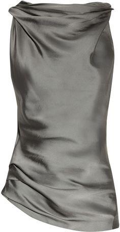 Donna Karan New York Cowl-neck Matte-satin and Jersey Top