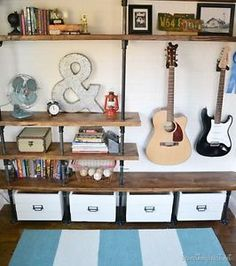 How to Build Industrial Shelves Industrial shelves are functional and easy to build. We built some for our oldest sons' bedroom. They share a long, narrow bedroom, so we built them their own storage...
