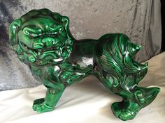 Retro, Mid Century, Boho, Asian by CoolOldStuffForSale Japanese Foo Dog, Stone Lion, Fu Dog, Lion Dog, Different Shades Of Green, Chinese Ceramics, Vintage Artwork, Horse Art, Jade Green