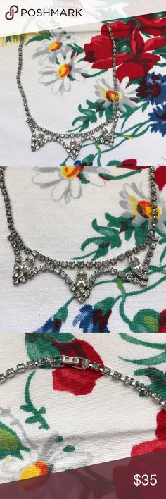 "Vintage rhinestone necklace Vintage rhinestone necklace 15"" length. Excellent condition. Beautiful piece with 3 larger stones draped along the bottom. Vintage Jewelry Necklaces"
