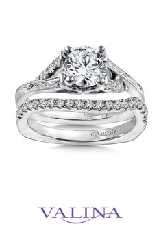Diamond split shank engagement ring mounting with milgrain and hand-engraved detailing and side stones set in white gold. Split Shank Engagement Rings, Classic Engagement Rings, Diamond Engagement Rings, Elegant Bride, Hand Engraving, Diamonds, Stones, White Gold, Bridal