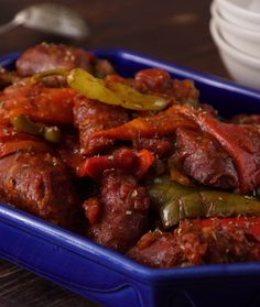 Spetsofai, Sausage and Peppers   Greek Food - Greek Cooking - Greek Recipes by Diane Kochilas