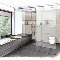 Family bathroom fittings by Interior Architecture Drawing, Drawing Interior, Architecture Graphics, Interior Rendering, Architecture Design, Interior Design Tools, Interior Design Sketches, Bath Design, House Design