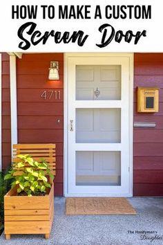 Screen Door Hinges, Custom Screen Doors, Front Door With Screen, Diy Screen Door, Wooden Screen, Diy Door, Outdoor Projects, Home Projects, Outdoor Doors